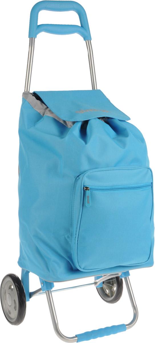Сумка-тележка Gimi Argo, цвет: голубой, 45 л1551550060000Хозяйственная сумка-тележка Gimi Argo выполнена из высококачественного полиэстера со стальным каркасом. Она оснащена одним вместительным отделением, закрывающимся на шнурок. Снаружи имеется карман на застежке-молнии. Сумка водоустойчива, оснащена парой колес, которые обеспечивают удобство транспортировки. Для компактного хранения сумку можно сложить. Максимальная нагрузка: 30 кг.