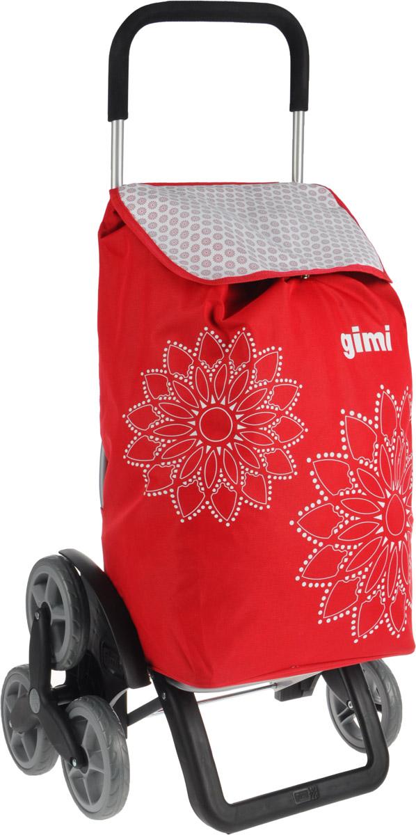 Сумка-тележка Gimi Tris Floral, цвет: красный, черный, 56 л1507935010000Хозяйственная сумка-тележка Gimi Tris Floral выполнена из высококачественного полиэстера со стальным каркасом. Она оснащена одним вместительным отделением, закрывающимся на шнурок. Снаружи имеется карман на застежке-молнии и маленькая ручка для пристегивания к тележке супермаркета. Сумка водоустойчива, оснащена тремя парами колес, которые обеспечивают удобство транспортировки. Для компактного хранения сумку можно сложить. Максимальная нагрузка: 30 кг.
