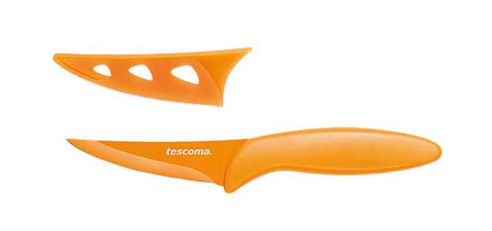 Нож универсальный Tescoma Presto Tone, с чехлом, цвет: оранжевый, длина лезвия 9 см863080Универсальный нож Tescoma Presto Tone предназначен для нарезки мяса, овощей, фруктов и других продуктов. Лезвие выполнено из высококачественной нержавеющей стали с антиадгезивным покрытием, а ручка из прочного пластика. Продукты не прилипают к лезвию. Изделие легко чиститься. В комплект входит защитный чехол для бережного хранения. Можно мыть в посудомоечной машине, не рекомендуется использовать металлические губки и абразивные чистящие средства. Общая длина ножа: 18,7 см.