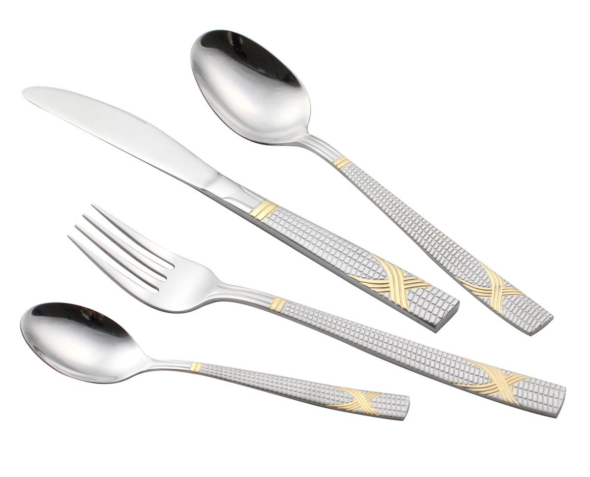 Набор столовых приборов Bravo, 72 предмета. 137-A72GS137-A72GSВ набор входит: 12 столовых ложек, 12 столовых вилок, 12 чайных ложек, 12 десертных вилок, 12 столовых ножей, 2 вилки для мяса, 2 сервировочные ложки, 1 ложка для салата, 1 вилка для салата, 1 лопатка для пирожных, 1 ложка для сахара, 1 щипчики для сахара, 1 ложка для супа, 1 маленький половник, 1 большой половник. Состав: сталь 18/10. Объём изделия: 0,0133 м3. Размер упаковки: 48,5 х 33 х 9,5 см. Вес изделия в упаковке: 3,200 кг.