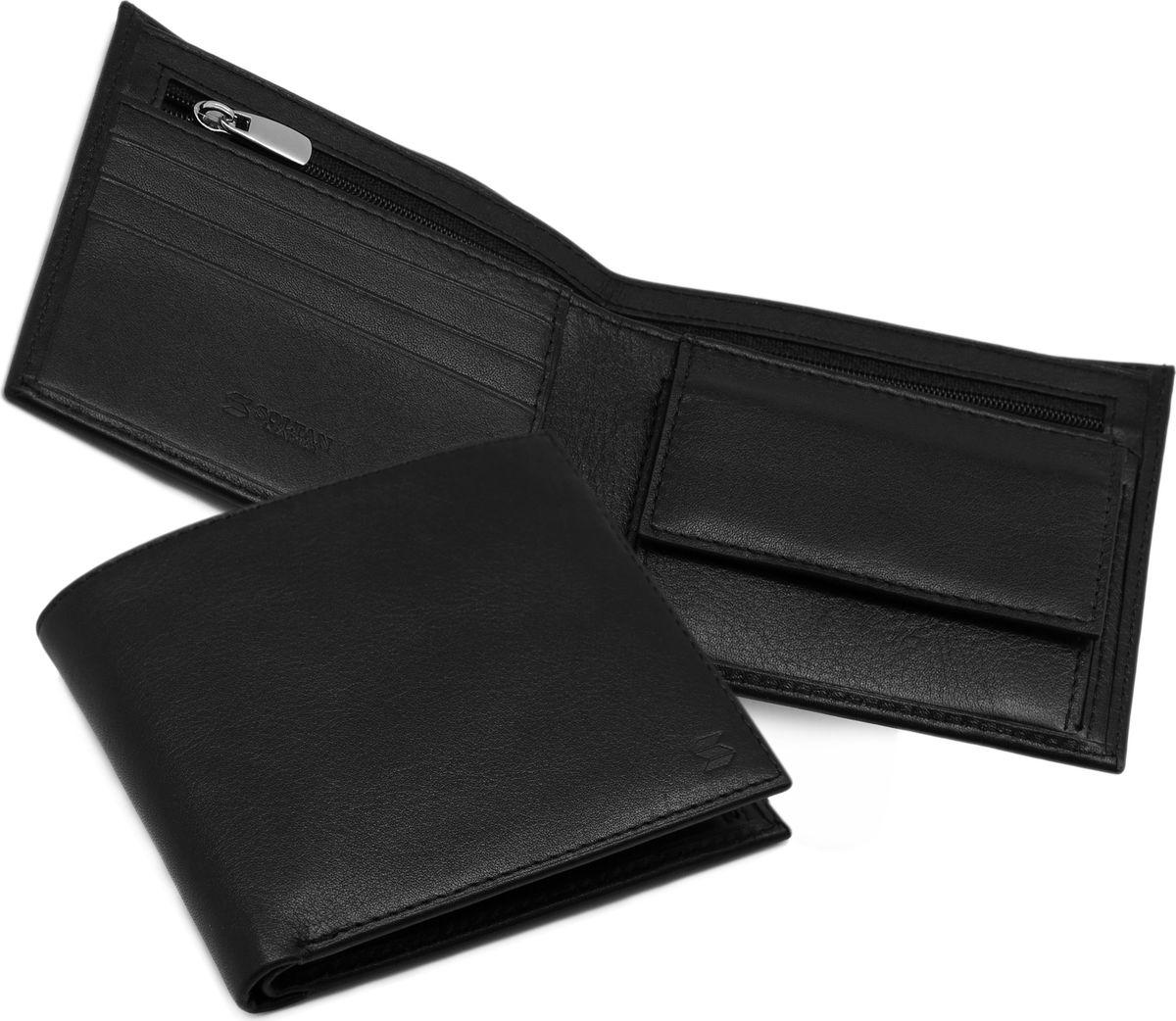 Портмоне мужское Soltan, цвет: черный. 150 01 01150 01 01Портмоне SOLTAN из натуральной кожи черного цвета имеет три отделения для купюр, одно из которых на молнии, 3 кармашка для кредиток, отделение для мелочи.