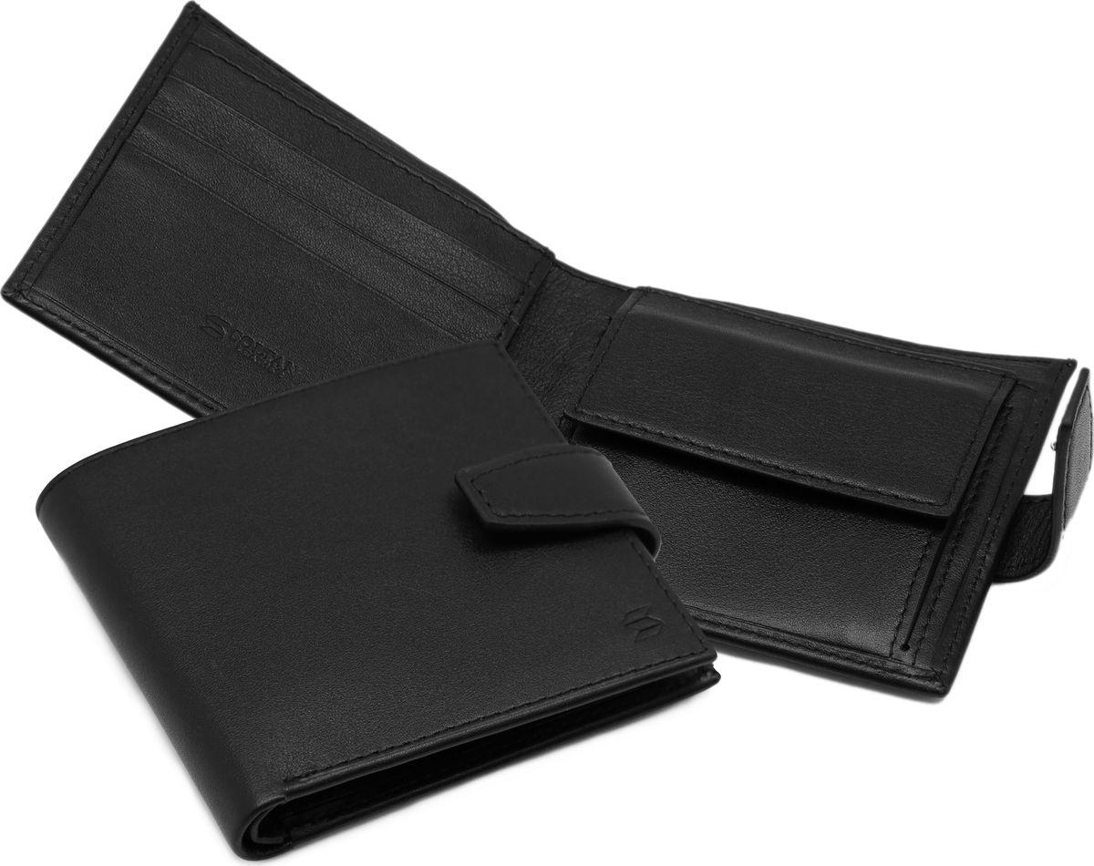 Портмоне мужское Soltan, цвет: черный. 101 01 01101 01 01Портмоне SOLTAN из натуральной кожи черного цвета застегивается на кнопку, имеет два отделения для купюр, отделение для мелочи, 3 кармашка для карточек.