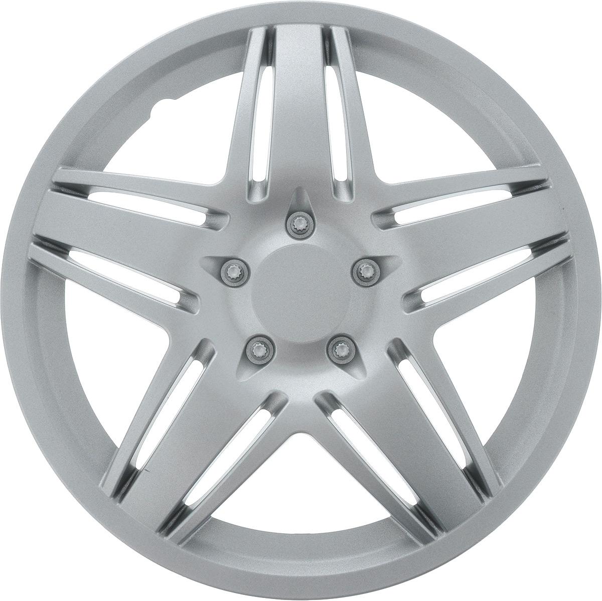 Колпак защитный Phantom Стар, R15 , декоративный, 1 шт. PH5766PH5766Колпак Phantom Стар предназначен для защиты колесного диска и тормозной системы от загрязнений, а также для декоративного украшения автомобиля. Колпак изготовлен из высококачественного масло- бензостойкого пластика, а крепление в виде распорного кольца - из металла. Размер колеса: R15. Диаметр колпака: 41,5 см.