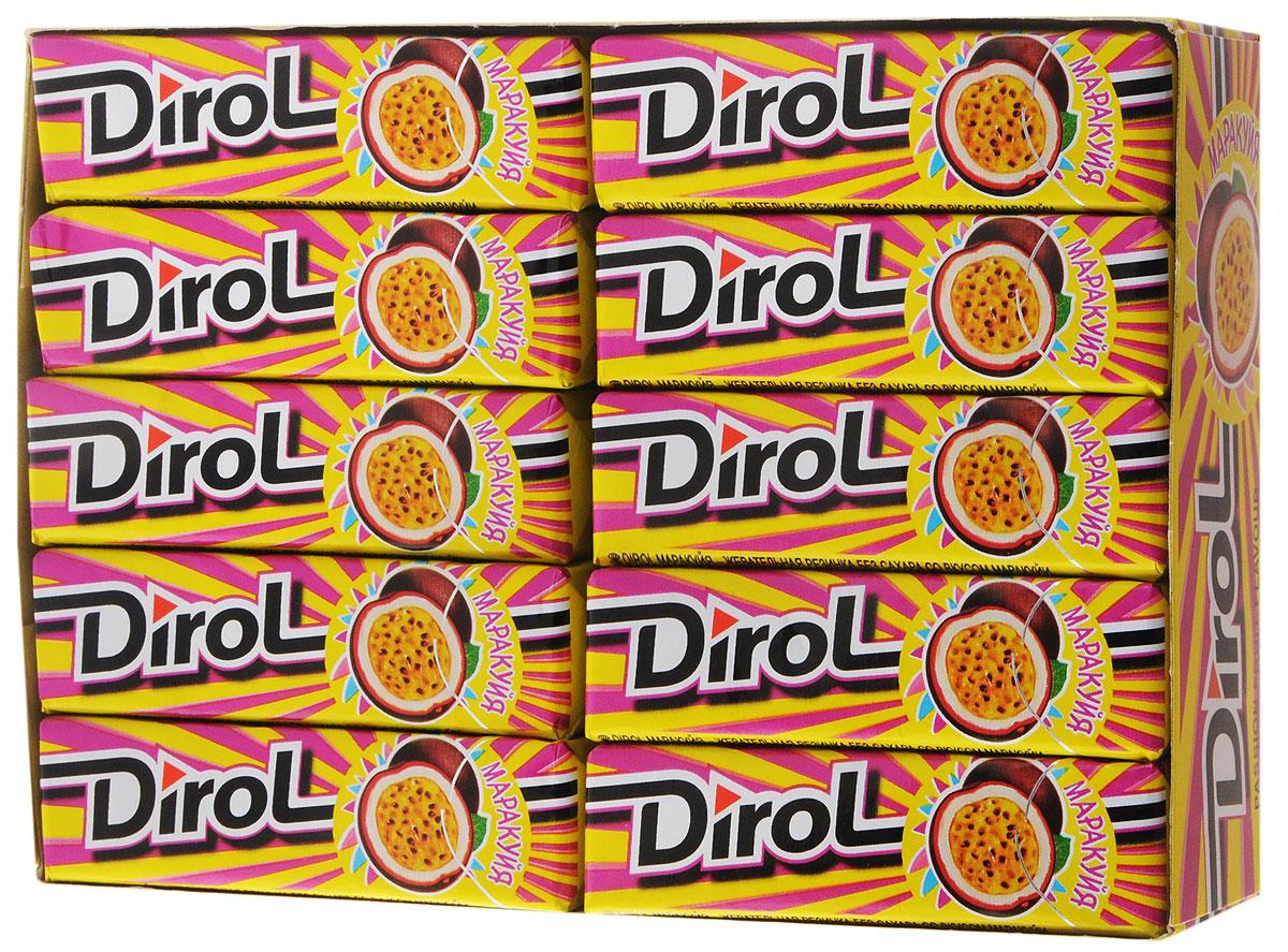 Dirol Маракуйя жевательная резинка без сахара, 30 пачек по 13,6 г