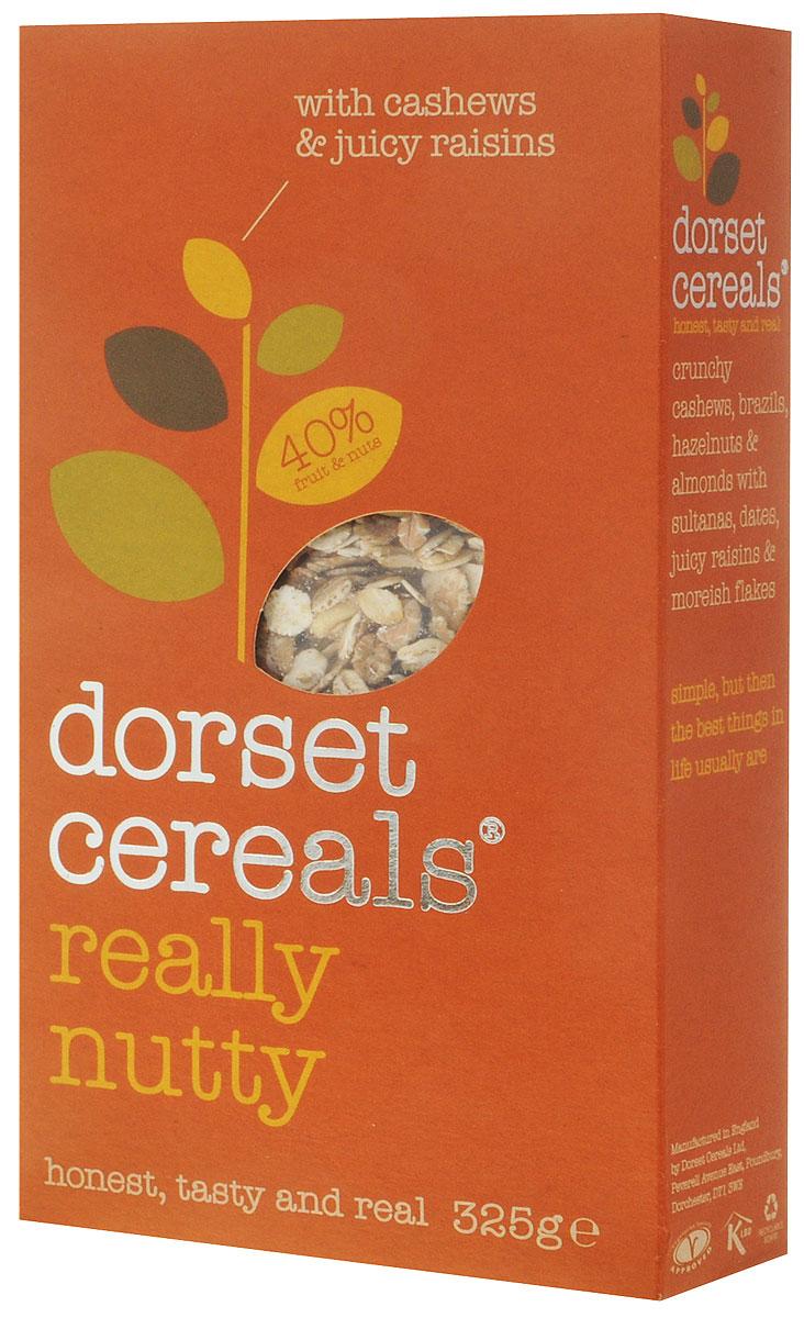 Dorset Cereals 4 ореха мюсли, 325 гбйж001Мюсли Dorset Cereals 4 ореха с миксом кешью, бразильского ореха, фундука, миндаля и изюма. Не подвергаются термической обработке и сохраняют полезные элементы цельного овсяного зерна. Являются сбалансированным и полноценным завтраком, который помогает пищеварению и поддерживает обменные процессы в организме. Уважаемые клиенты! Обращаем ваше внимание, что полный перечень состава продукта представлен на дополнительном изображении.
