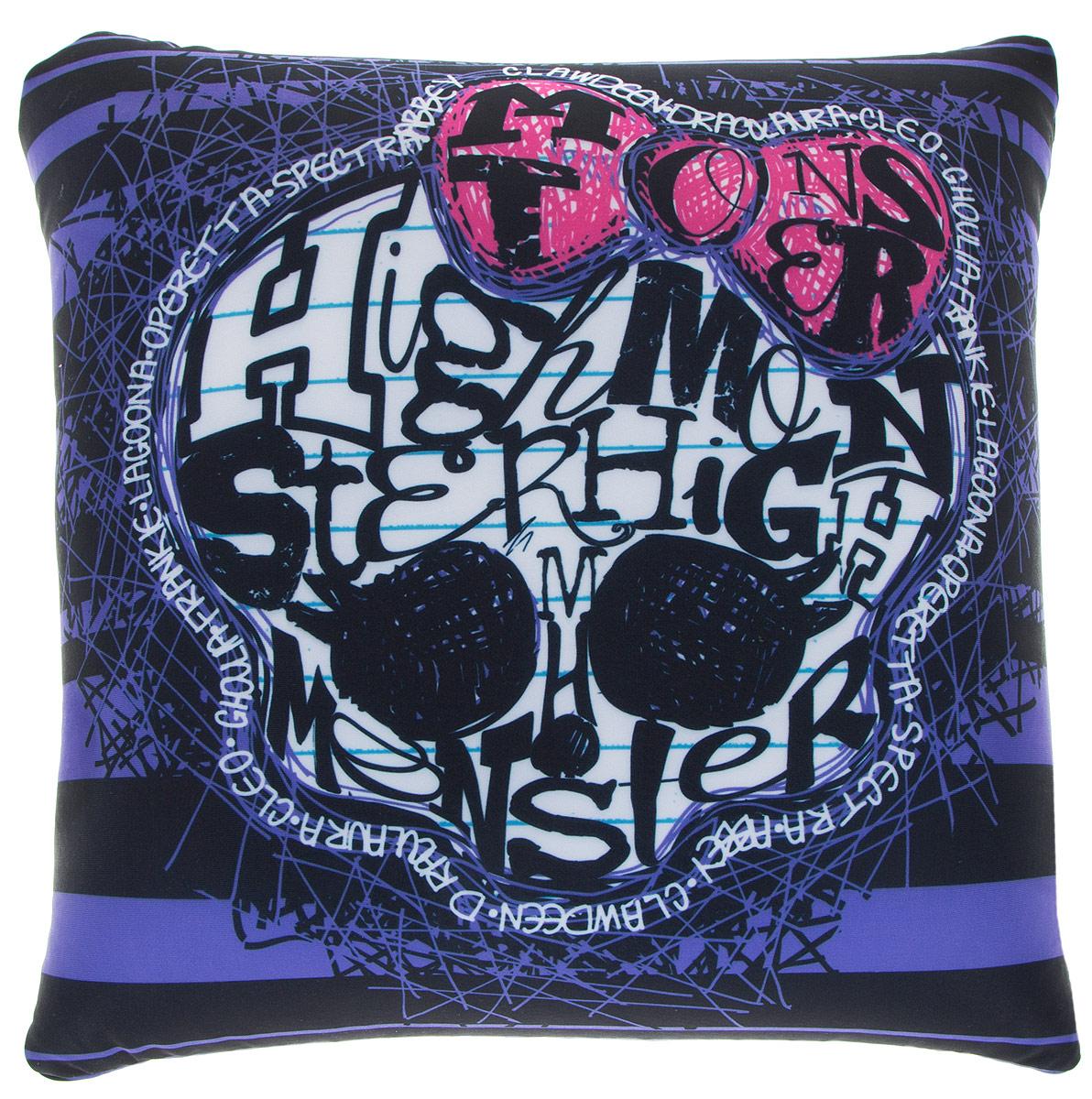 Maxi Toys Подушка Monster High цвет фиолетовый черный белыйMT-H091414Яркая и оригинальная подушка Maxi Toys Monster High станет отличным аксессуаром к интерьеру любой детской комнаты! Подушка украшена принтом в стиле популярного мультсериала Monster High. Мягкую подушку можно взять с собой в путешествие - в самолете и автомобиле положить ее под голову во время отдыха, а наполнение в виде маленьких полимерных шариков будет отлично снимать стресс. Размер подушки: 32 см х 32 см х 14 см.