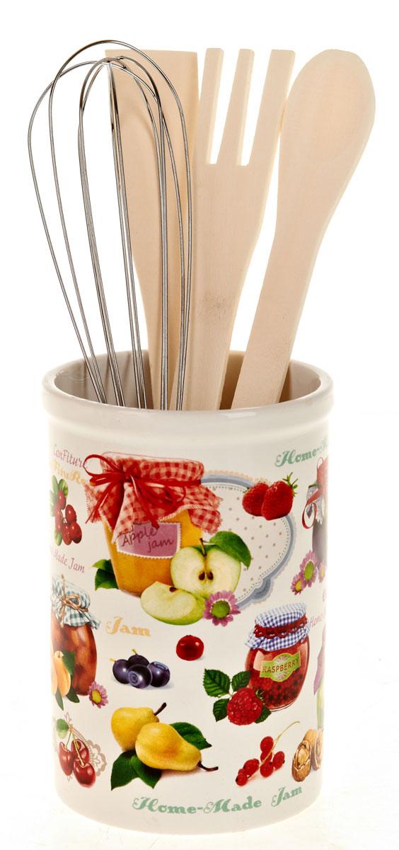 Подставка для кухонных принадлежностей Polystar ДжемL2430689Подставка для столовых приборов поразит любого своей элегантностью и практичностью. Этот незаменимый кухонный аксессуар обеспечит столовым приборам сушку и хранение, а так же станет прекрасным украшением вашего рабочего кухонного пространства. В состав набора входит: подставка, лопатка, ложка поварская, вилка, венчик.