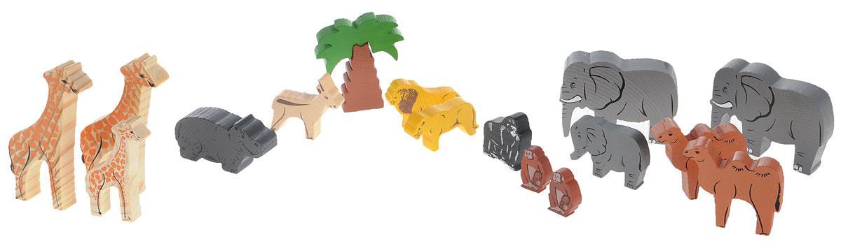 Томик Конструктор Африка7678-4Конструктор Томик Африка - отличный сюжетный деревянный конструктор, который включает в себя 35 деталей. Элементы конструктора тщательно обработаны и покрыты нетоксичной краской, поэтому играть с такой игрушкой безопасно. На деталях с двух сторон нанесены рисунки, методом шелкографии. Здесь изображены следующие взрослые животные с их малышами: слоны, бегемоты, львы, жирафы, обезьяны, верблюды и другие. Малышам будет приятно держать в руках фигурки животных, они довольно крупные, на ощупь очень приятные и очень похожи на живых. Цветные элементы подарят ребенку массу положительных эмоций и помогут создать свой сказочный городок. Конструирование способствует развитию пространственного мышления, глазомера, координации и мелкой моторики рук.