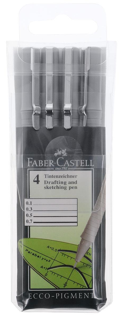 Faber-Castell Капиллярная ручка Ecco Pigment цвет чернил черный 4 шт166004Капиллярная ручка Faber-Castell Ecco Pigment - это профессиональная ручка для письма, черчения или рисования. Основой капиллярных ручек является синтетический стержень, который укреплен в металлической трубке с целью дальнейшего обеспечения надежной работы ручки. Он контактирует с пористым стержнем с чернилами, который находится внутри ручки. Чернила водоустойчивы. В набор входят 4 ручки с диаметром 0,1, 0,3, 0,5 и 0,7 мм.