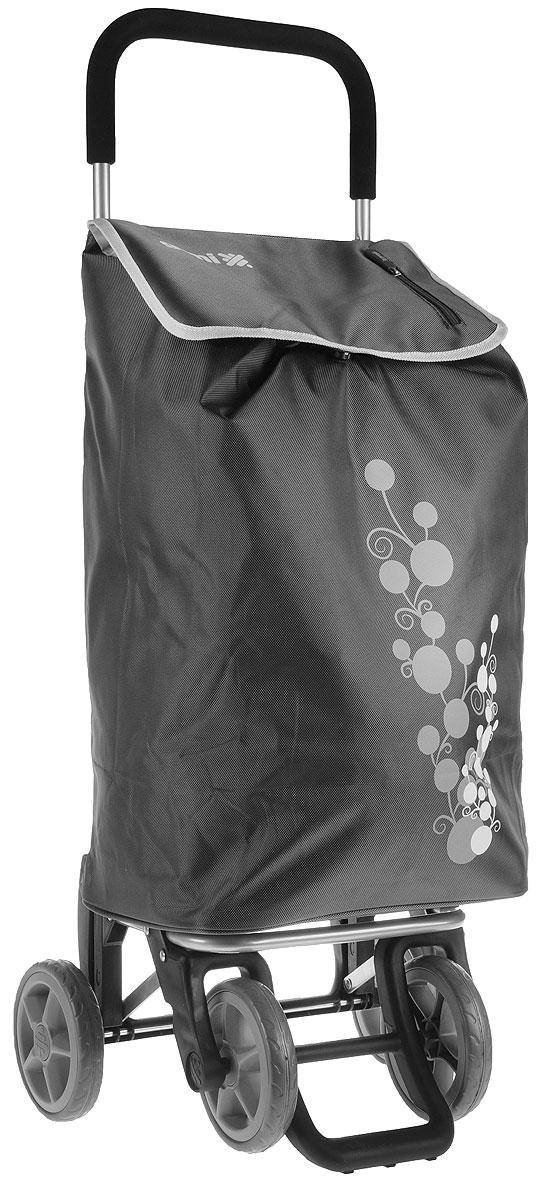 Сумка-тележка Gimi Twin, цвет: серый, 56 л1508035001000Хозяйственная сумка-тележка Gimi Twin выполнена из высококачественного полиэстера со стальным каркасом. Она оснащена одним вместительным отделением, закрывающимся на шнурок. Имеется карман на застежке-молнии и маленькая ручка для пристегивания к тележке супермаркета. Сумка водоустойчива, оснащена двумя парами колес, которые обеспечивают удобство транспортировки. Для компактного хранения сумку можно сложить. Максимальная нагрузка: 30 кг.