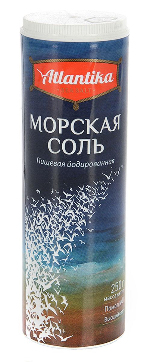 Atlantika соль морская пищевая мелкая йодированная, 250 г