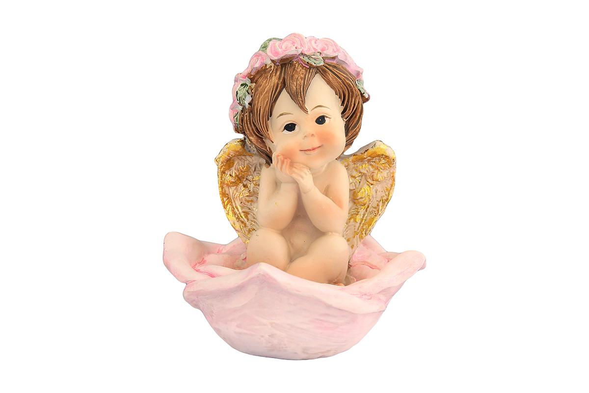 Фигурка декоративная Elan Gallery Ангелочек в венке в розе, высота 9 см670124Декоративная фигурка с изображением ангелочка станет прекрасным сувениром, который вызовет улыбку и поднимет настроение. Фигурка выполнена из полистоуна.