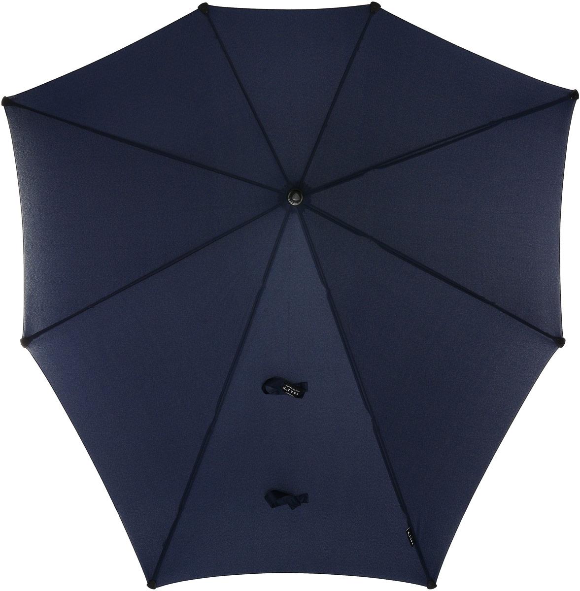 Зонт-трость Senz, механика, цвет: темно-синий. 40110024011002Элегантный и самый большой зонт-трость в коллекции бренда Senz не оставит вас без внимания. Оформлена модель в лаконичном дизайне. Конструкция зонта выполнена из стеклопластика, а ручка изготовлена из алюминия. Купол выполнен из качественного полиэстера, который не пропускает воду. Также зонт имеет заостренный наконечник, который устраняет попадание воды на стержень и уберегает зонт от повреждений. Изделие имеет механическое устройство сложения: купол открывается и складывается вручную до характерного щелчка. В комплекте имеется прочный чехол из плотной ткани с лямкой на плечо. Форма оригинального зонта продумана так, что вы легко найдете самое удобное положение на ветру - без паники и без борьбы со стихией.