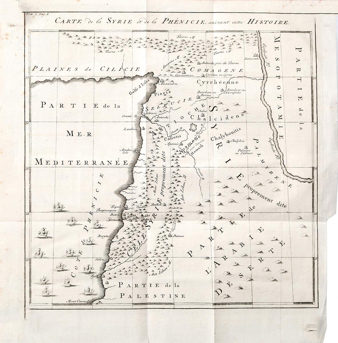 Географическая карта Сирии и Финикии. Гравюра. Западная Европа, середина XVII века