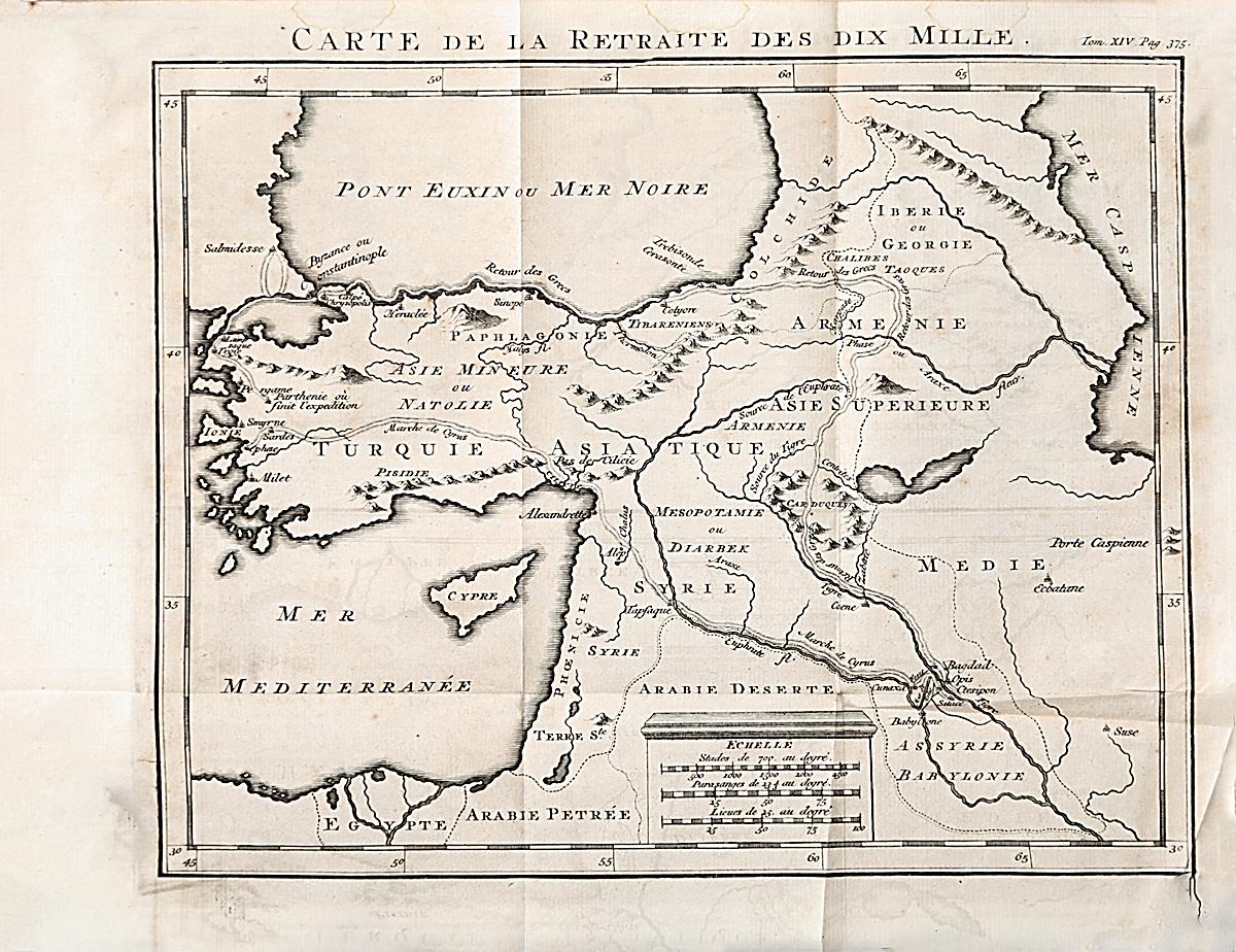 Географическая карта Carte de la retraite des dix Mille. Гравюра. Западная Европа, середина XVII века