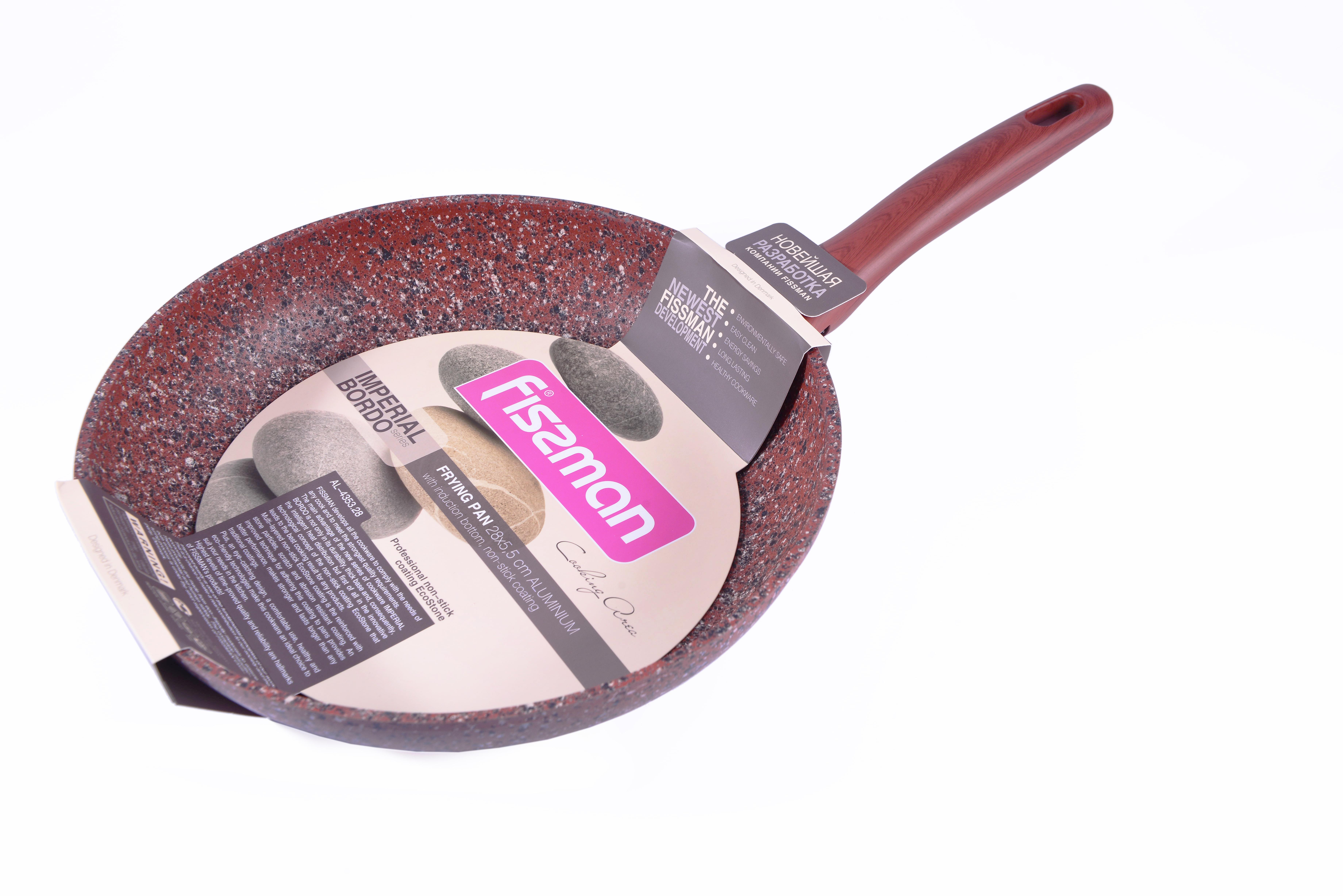 Сковорода Fissman Imperial Bordo, с антипригарным покрытием. Диаметр 28 смAL-4353.281 слой улучшает сцепление покрытия с металлом, 2 слой – грунтовый, 3 слой - более прочное покрытие на основе минеральных компонентов, 4 слой – высокопрочное антипригарное покрытие, усиленное вкраплением каменных частиц, 5 дополнительный антипригарный слой с керамическими частицами. Высота стенок: 5,5 см.