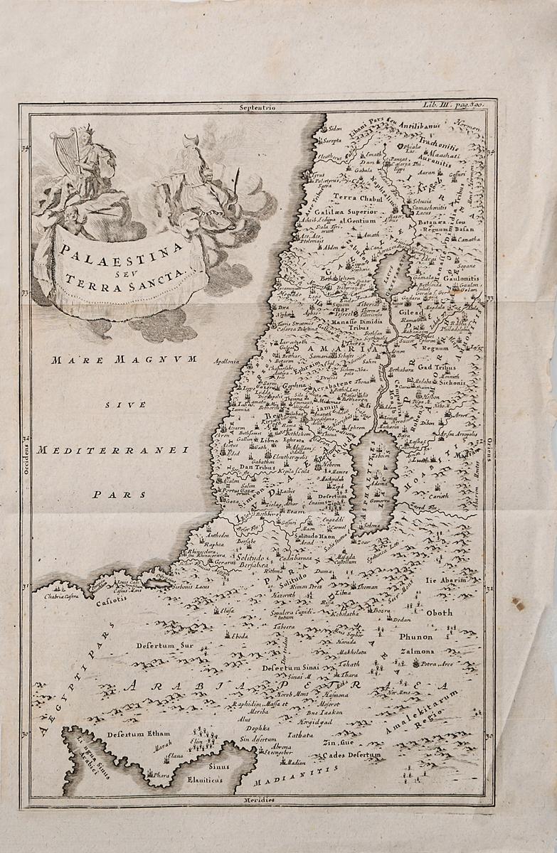 Географическая карта Палестины и Святой земли. Гравюра. Западная Европа, середина XVII века