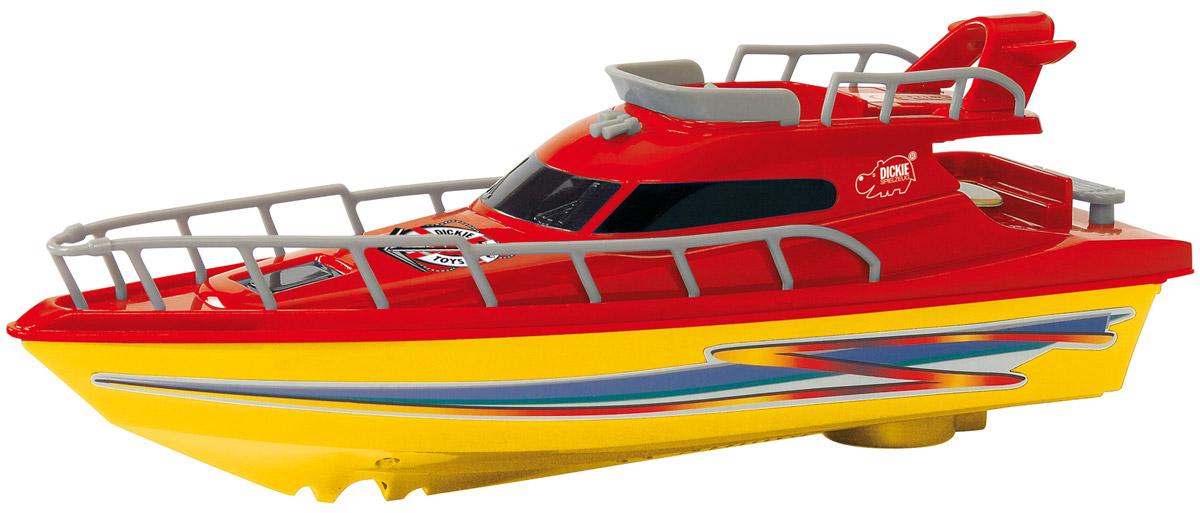 Dickie Toys Яхта Ocean Dream цвет желтый красный3774001_желтый, красныйЯхта с турбодвигателем Dickie Toys Ocean Dream поможет вашему ребенку почувствовать себя настоящим морским спасателем. Яхта изготовлена из яркого безопасного пластика. Такая игрушка разнообразит игровые ситуации, откроет новые сюжеты для маленького автолюбителя и поможет развить мелкую моторику рук, внимание и координацию движений. Не упустите шанс порадовать своего малыша замечательным подарком! Для работы игрушки необходима батарейка типа AA (не входит в комплект).