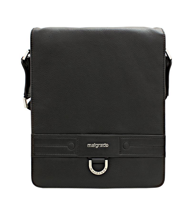 Сумка мужская Malgrado, цвет: черный. BR12-633 blackBR12-633 black Сумка мужская MalgradoМужская сумка Malgrado выполнена из натуральной кожи черного цвета. Сумка состоит из двух отделений, закрывающихся на застежку-молнию и сверху широким клапаном на магниты. Внутри первого отделения - карман для бумаг на кнопке, три накладных кармашка из кожи и два фиксатора для пишущих принадлежностей. Во втором отделении расположен вшитый карман на застежке-молнии. Под клапаном предусмотрен вертикальный сетчатый карман на молнии для бумаг и документов. На лицевой стороне, на задней стенке сумки расположен глубокий карман для бумаг на молнии. Сумка оснащена актуальной ручкой-лентой регулируемой длины. Сегодня мужская сумка - необходимый аксессуар для современного мужчины. Характеристики: Материал: натуральная кожа, текстиль, металл. Размер сумки: 28 см х 32 см х 6 см. Цвет: черный. Артикул: BR12-633.