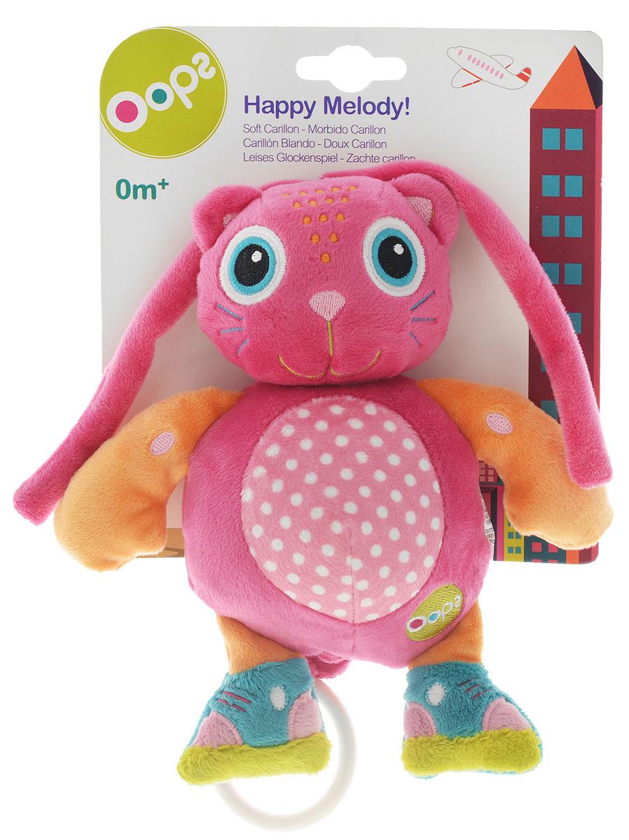Oops Музыкальная игрушка-подвеска КошкаO 12002.00_кот розовыйМузыкальная игрушка-подвеска OOPS Кошка изготовлена из мягкого и приятного на ощупь текстиля ярких приятных тонов в виде милой кошечки. Если вы потяните за пластиковое кольцо вниз, малыш услышит негромкую успокаивающую мелодию, которая заменит наскучившие колыбельные и поможет ему заснуть. Крепится игрушка к кровати с помощью специальных веревочек. Игрушка-подвеска OOPS Кошка развивает слух, моторику, зрительно-цветовое восприятие и обладает релаксирующим воздействием.