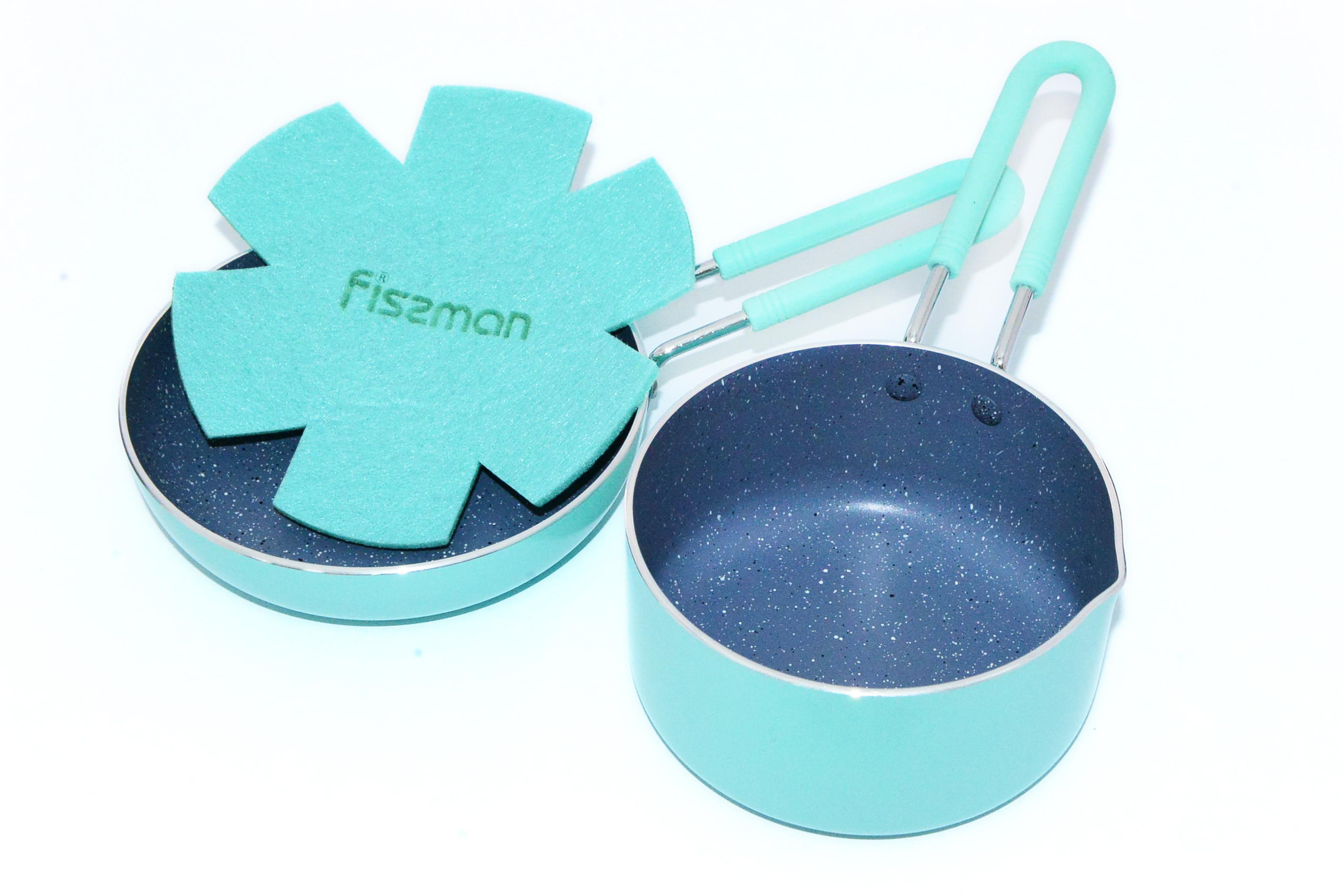 Набор посуды Fissman Petite, с антипригарным покрытием, цвет: бирюзовый, 2 предметаAL-4866.12141 слой улучшает сцепление покрытия с металлом, 2 слой – грунтовый, 3 слой - высокопрочное антипригарное покрытие, усиленное натуральной каменной крошкой на основе минеральных компонентов, 4 дополнительный антипригарный слой с керамическими частицами. Высота стенок: 3,5 см.