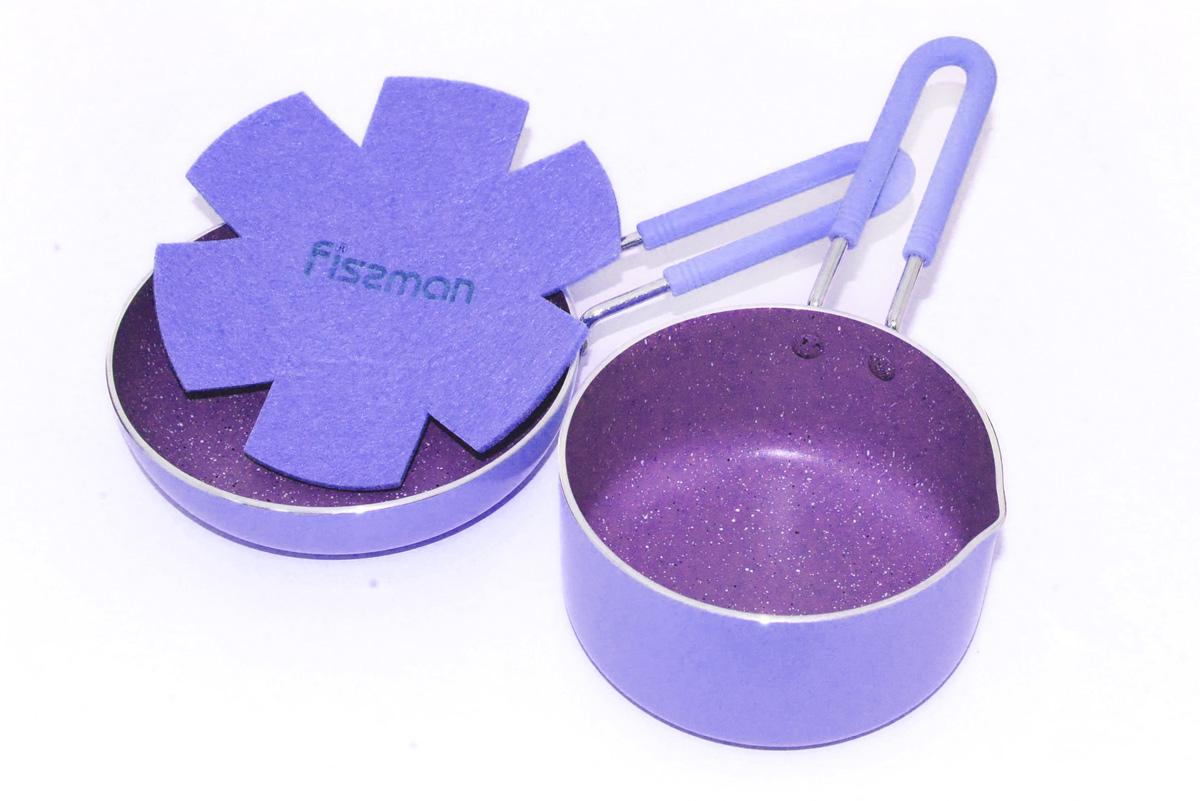 Набор посуды Fissman Petite, с антипригарным покрытием, цвет: лиловый, 2 предметаAL-4867.12141 слой улучшает сцепление покрытия с металлом, 2 слой – грунтовый, 3 слой - высокопрочное антипригарное покрытие, усиленное натуральной каменной крошкой на основе минеральных компонентов, 4 дополнительный антипригарный слой с керамическими частицами. Высота стенок: 6 см.