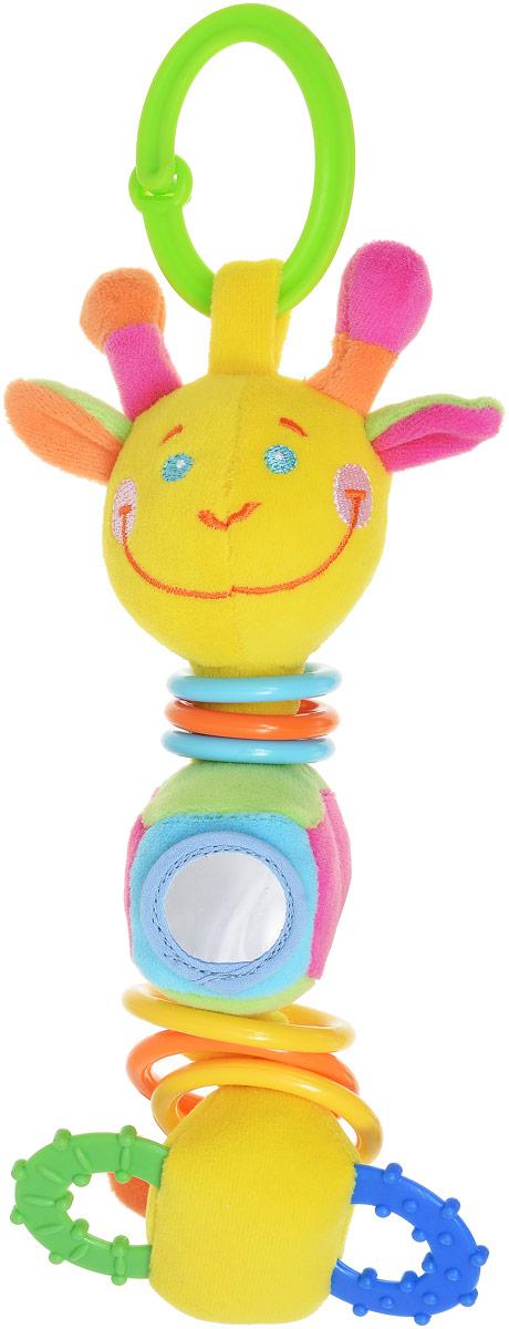 Mommy Love Мягкая игрушка-подвеска Жираф ДудуZHSS0\MМягкая игрушка-подвеска Mommy Love Жираф Дуду станет любимой игрушкой крохи. Выполнена из качественных и безопасных для детей материалов в виде очаровательного жирафика. Изготовлена игрушка-подвеска из ярких разноцветных кусочков ткани, различных по своей текстуре. Вместо лапок у жирафика прорезыватели, а на животике зеркальце. Ушки Дуду выполнены из шуршащего материала. Игрушка имеет сверху и снизу колечки, за которые можно подвешивать игрушку к кроватке, коляске или манежу, также к ним можно присоединить любые другие игрушки. Мягкая игрушка-подвеска Mommy Love Жираф Дуду поможет в развитии зрения, слуха, тактильного восприятия, а также мелкой моторики.