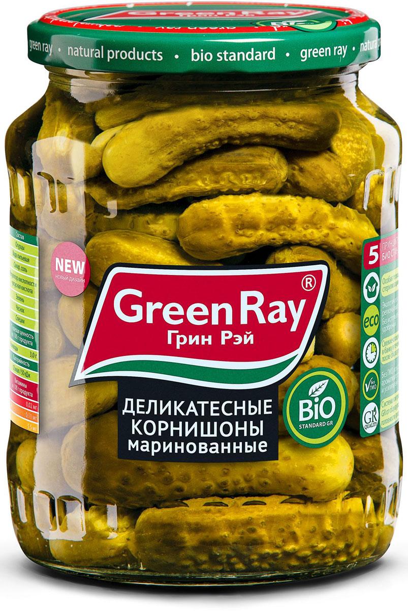 Green Ray огурцы маринованные, 720 мл612Маринованные огурцы Green Ray, размером 6-9 см, приготовлены из свежих огурчиков, выращенных в Краснодарском крае. Превосходный вкус и неповторимую пикантность придает продукту оригинальный букет приправ и специй.
