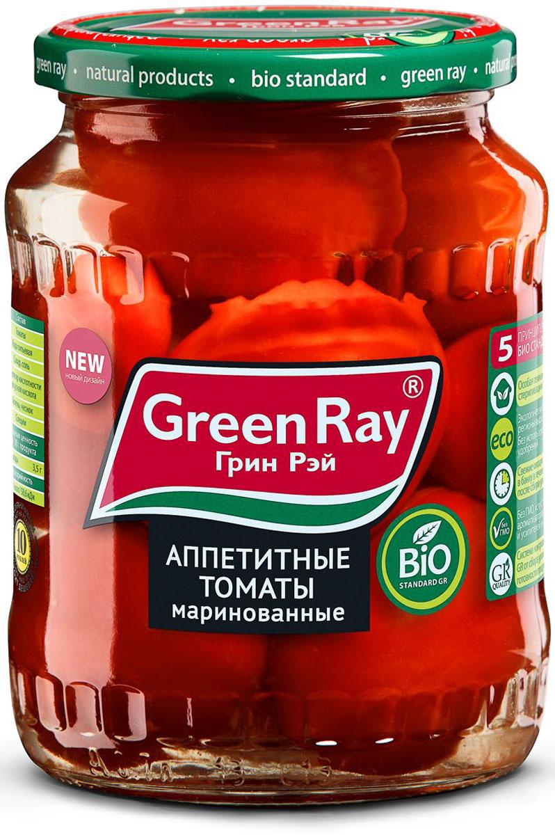 Green Ray томаты маринованные, 720 мл615Маринованные томаты Green Ray - это оригинальное кулинарное решение в будни и праздники. Продукт изготовлен из высококачественных ингредиентов, по современным технологиям.