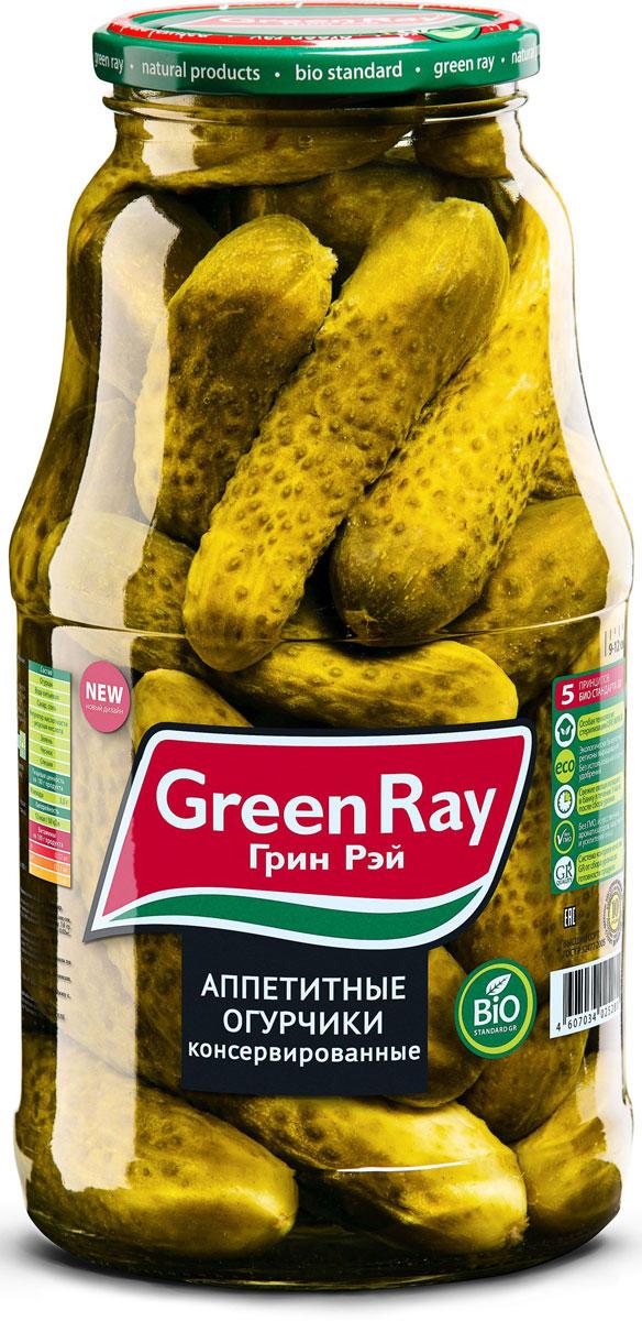 Green Ray огурцы консервированные с зеленью в заливке, 1,8 л613Маринованные огурцы Green Ray приготовлены из свежих огурчиков, выращенных в Краснодарском крае. Превосходный вкус и неповторимую пикантность придает продукту оригинальный букет приправ и специй.