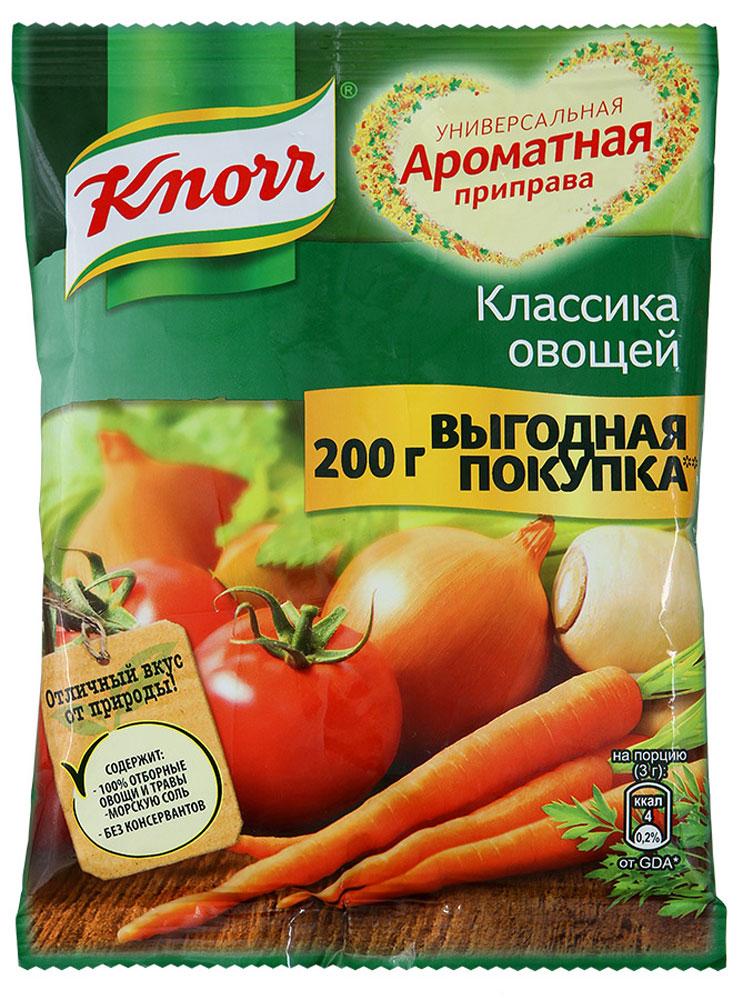 Knorr Приправа Классика овощей, 200 г65415446Универсальная приправа Knorr Классика овощей - это сухая смесь, которая поможет быстро и вкусно приготовить сытное блюдо. В состав смеси входят натуральные сушеные овощи, травы и специи, специально подобранные в определенном соотношении, чтобы наиболее ярко оттенить вкус блюда. Достаточно добавить одну порцию приправы во время приготовления второго блюда или супа, и смесь придаст вашей пище аппетитный аромат. Удобная герметичная упаковка не пропускает посторонних запахов и великолепно сохраняет все свойства смеси. Уважаемые клиенты! Обращаем ваше внимание, что полный перечень состава продукта представлен на дополнительном изображении.