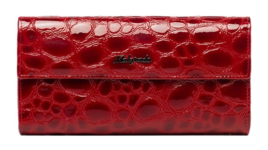 Кошелек женский Malgrado, цвет: красный. 72044-1-38402#72044-1-38402# RedСтильный кошелек Malgrado изготовлен из натуральной лакированной кожи красного цвета с декоративным тиснением под рептилию и вмещает в себя купюры в развернутом виде в полную длину. Внутри содержит пять основных отделений, одно из которых закрывается на кнопку, внутри расположено десять кармашков для карточек, визиток или кредиток и одно с прозрачным окошком, одно горизонтальное отделение и еще одно отделение на защелке для мелочи. С оборотной стороны расположен карман на молнии. Закрывается кошелек клапаном на кнопку. Кошелек упакован в подарочную металлическую коробку с логотипом фирмы. Такой кошелек станет замечательным подарком человеку, ценящему качественные и практичные вещи. Характеристики: Материал: натуральная кожа, текстиль, металл. Размер кошелька: 18 см х 9 см х 3 см. Цвет: красный. Размер упаковки: 23 см х 12,5 см х 4,5 см. Артикул: 72044-1-38402# Red.