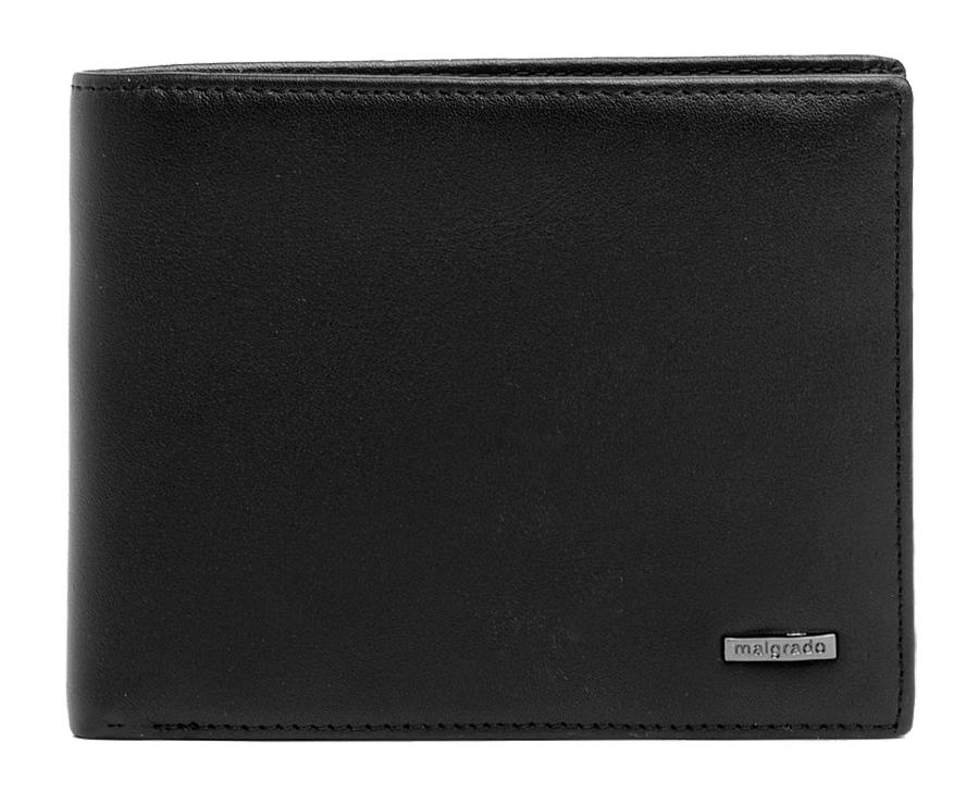 Портмоне Malgrado, цвет: черный. 40009-2-55D Black40009-2-55D BlackПортмоне Malgrado выполнено из высококачественной натуральной кожи черного цвета с логотипом фирмы. Портмоне имеет два кармана для купюр, восемь отделений для визиток, два скрытых кармашка, один прозрачный и кармашек для мелочи на кнопке. Это элегантное портмоне непременно подойдет к вашему образу и порадует простотой, стилем и функциональностью. Портмоне упаковано в коробку из плотного картона с логотипом фирмы. Характеристики: Материал: натуральная кожа, текстиль, металл. Размер портмоне в сложенном виде: 12,5 см х 10 см х 1,5 см.