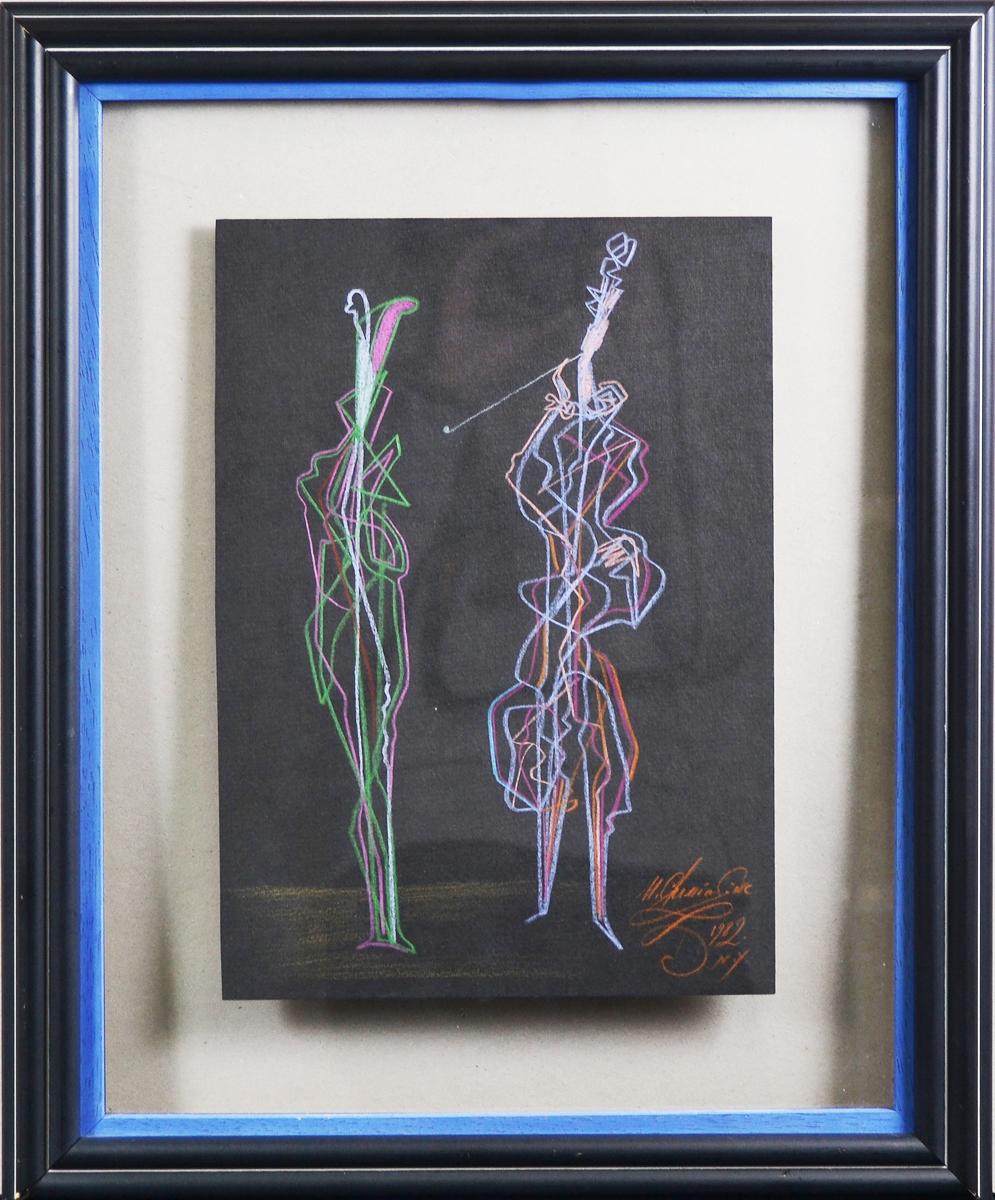 Михаил Шемякин. Два персонажа. Этюд. Рисунок, пастель. Нью-Йорк, 1982 год