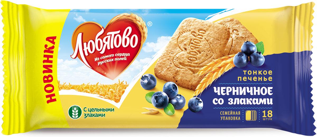 Любятово печенье сахарное Черничное со злаками, 171 г4610003252632