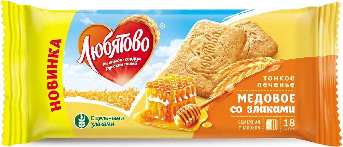 Любятово печенье сахарное Медовое со злаками, 171 г4610003252649