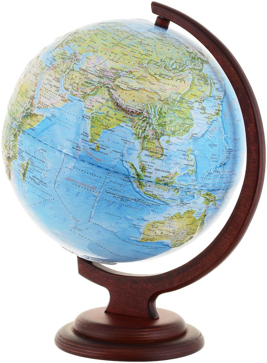 Глобусный мир Ландшафтный глобус, рельефный, диаметр 25 см, на деревянной подставке10238Ландшафтный глобус Глобусный мир, изготовленный из высококачественного прочного пластика. Данная модель предназначена для ознакомления с особенностями ландшафта нашей планеты. Помимо этого ландшафтный глобус обладает приятной цветовой гаммой. Глобус дает представление о местоположении материков и океанов, на нем можно рассмотреть особенности ландшафта нашей планеты (рельефы местности, леса, горы, реки, моря, структуру дна океанов, рельеф суши), можно увидеть графическое изображение географических меридианов и параллелей, гидрографическая сеть, а также крупнейшие населенные пункты. На глобусе имеются направления и названия подводных течений. Модель имеет рельефную выпуклую поверхность, что, в свою очередь, делает глобус особенно интересным для детей младшего школьного и дошкольного возрастов. Названия стран на глобусе приведены на русской язык. Изделие расположено на красивой деревянной подставке, что придает этой модели подарочный вид. Настольный глобус...