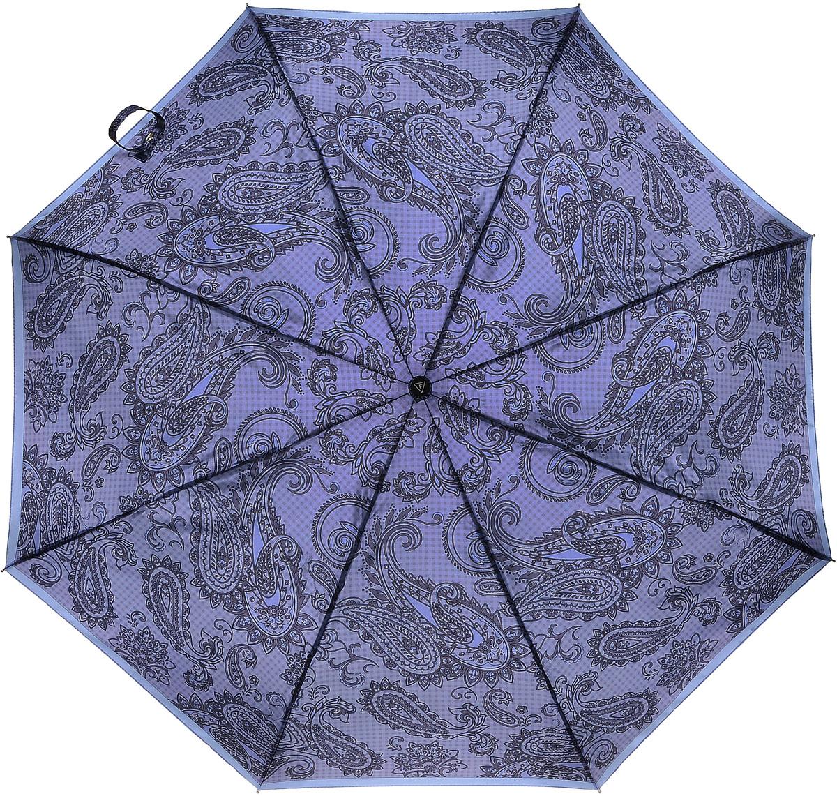 Зонт женский Fabretti, автомат, 3 сложения, цвет: фиолетовый, сиреневый, голубой. S-16107-1S-16107-1Элегантный женский зонт Fabretti не даст вам промокнуть. Купол зонта выполнен из качественного полиэстера и оформлен оригинальным принтом. Прочный каркас выполнен из металла. Система антиветер позволяет выдержать сильные порывы ветра. Зонт дополнен удобной пластиковой ручкой с противоскользящей обработкой. Ручка оснащена эластичной петлей, благодаря которой зонт можно носить на запястье. Изделие имеет автоматический механизм сложения: купол открывается и закрывается нажатием кнопки на ручке, стержень складывается вручную до характерного щелчка, благодаря чему открыть и закрыть зонт можно одной рукой. В сложенном виде зонт фиксируется с помощью хлястика с кнопкой. К зонту прилагается чехол, закрывающийся на застежку-молнию. Стильный и практичный аксессуар даже в ненастную погоду позволит вам оставаться неотразимой.