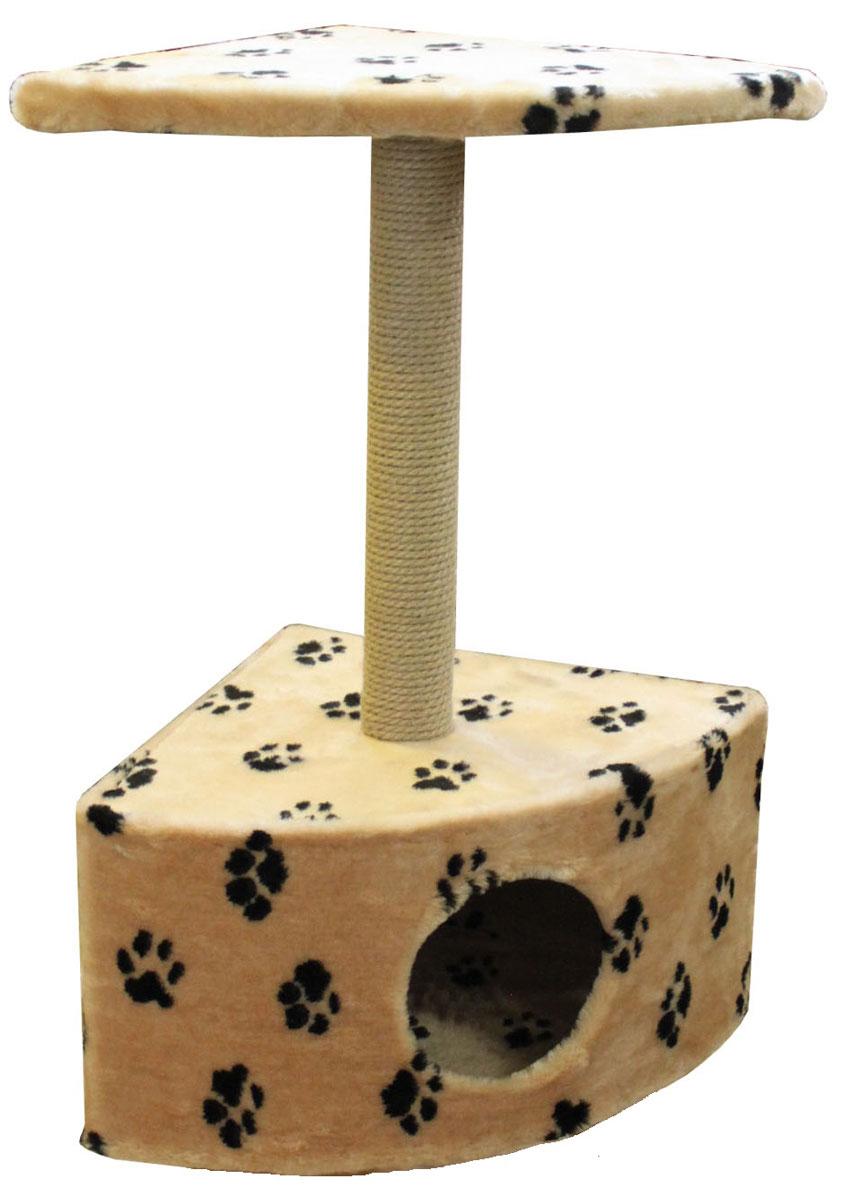 Домик для кошек Пушок, угловой, 58 см х 41 см х 98 см4640000931032Большой, уютный домик Пушок отлично подойдет для котят и взрослых кошек. Угловой домик расположен на небольшой подставке, а сверху устанавливается когтеточка со ступенькой. Такой домик станет не только идеальным местом для подвижных игр вашего любимца, но и местом для отдыха. Благодаря столбику-когтеточке, обернутой веревками из сизаля, ваша кошка удовлетворит природную потребность точить когти, что поможет сохранить вашу мебель и ковры. Для приучения любимца к когтеточке можно натереть ее сухой валерьянкой или кошачьей мятой. Размер домика: 58 см х 41 см х 27 см. Диаметр отверстия: 18 см. Длина когтеточки: 49 см. Размер ступеньки: 58 см х 41 см.