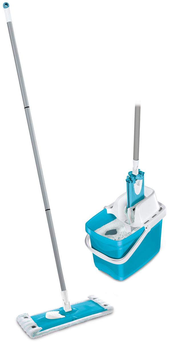 Комплект для уборки Leifheit Combi Clean, цвет: голубой, 3 предмета52063Комплект Leifheit Combi Clean состоит из ведра с сеткой для отжима, швабры Twist с возможностью вращения и насадки-тряпки Micro Duo. Такой комплект станет отличным вариантом для быстрой и качественной уборки. Особая структура поверхности насадки с разноуровневыми волокнами обеспечивает глубокую очистку гладких поверхностей и всех встречающихся неровностей: впадин, зазоров, микротрещин. При этом специфическое расположение насадки на платформе позволяет одновременно удалять загрязнения из углов и с плинтусов. Шарнирное соединение платформы и рукоятки предоставляет возможность выбора наиболее удобного наклона ручки в ходе уборки, что требуется при мытье труднодоступных мест. Простое и удобное использование отжимного устройства избавляет от необходимости постоянно нагибаться и позволяет сохранить руки сухими и чистыми. Длина платформы: 33 см