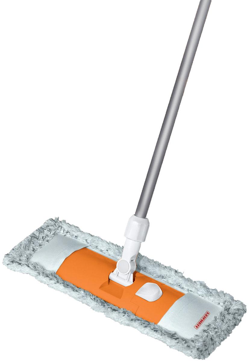 Швабра Leifheit Classic Limited Editon, с телескопической ручкой, цвет: оранжевый55219Швабра для пола Classic. Ширина рабочей поверхности6 42 см. Встроенный зажим для использования тканевых салфеток. Телескопическая ручка 75-130 см. Насадка из микроволокна.