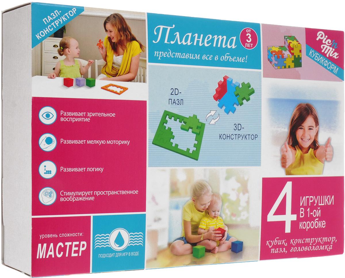 PicnMix Пазл-конструктор Кубикформ Планета111005Серия обучающих пазлов Кубикформ стимулирует развитие мышления, логики, пространственного воображения, памяти, координации, мелкой моторики, а также помогает усвоить навыки тактильного восприятия. Игра может проводиться в 2 этапа. На первом этапе ребенок осваивает навыки составления простых элементов головоломки и запоминает цвета, также он усваивает такие понятия как планета и некоторые ключевые элементы, которые ее составляют. На втором этапе ребенок учится собирать сложные геометрические фигуры. Подходит для игр в воде. Уровень сложности: мастер.