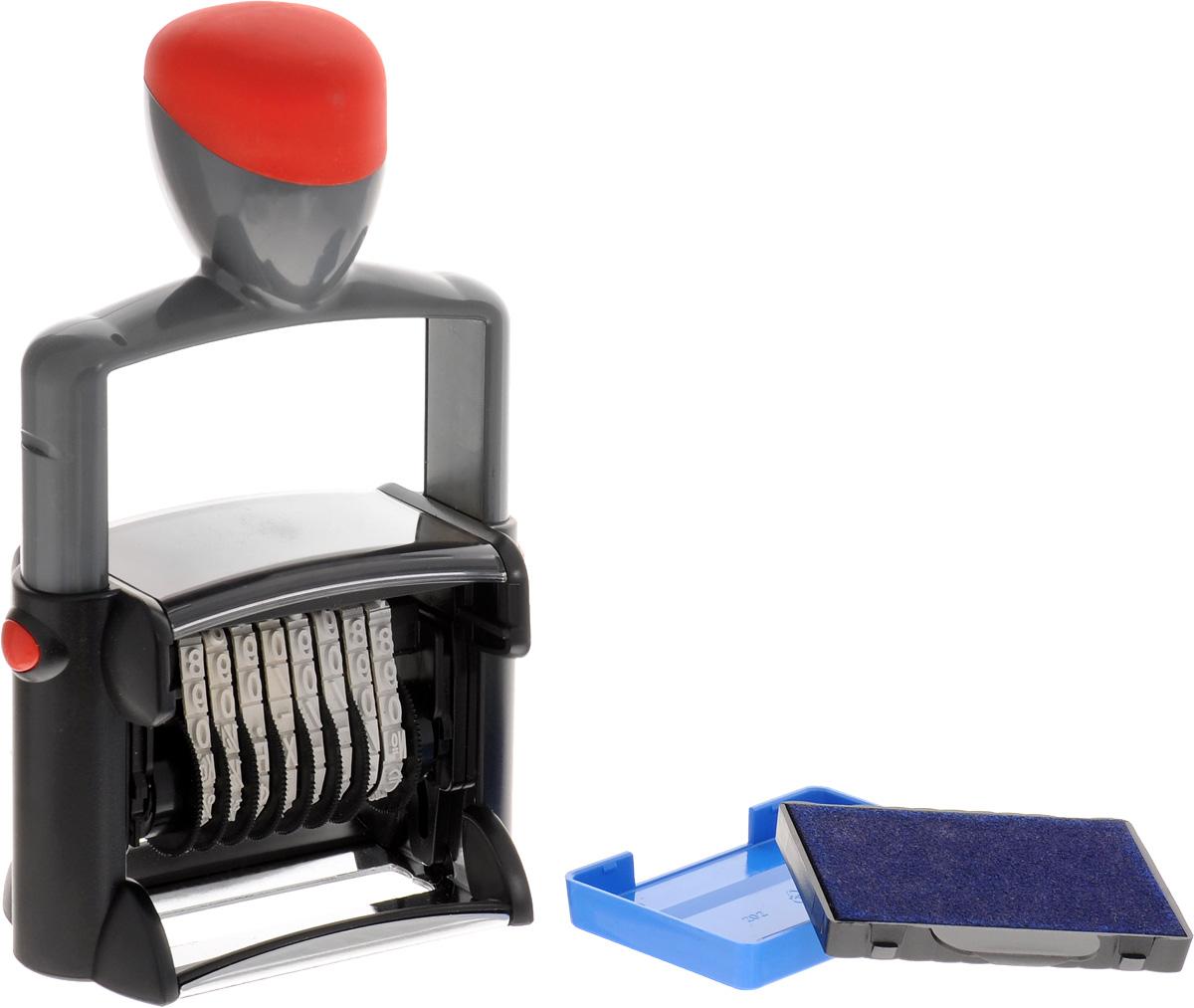 Trodat Нумератор восьмиразрядный 5 мм5558Нумератор Trodat имеет прочный корпус с удобной рукояткой и металлическим каркасом. Автоматическое окрашивание. Кольцевые ленты с цифрами. Номер устанавливается и изменяется вручную. Высота цифр - 5 мм, сменная подушка - код С03880. Восьмиразрядный.