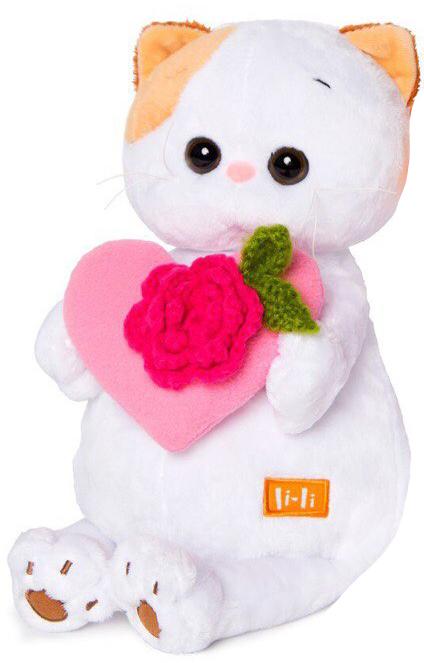 Кошечка Ли-Ли с розовым сердечком 27 смLK27-004Представляем вам подружку кота Басика: кошечку Ли-ли Экзотическая короткошерстная кошечка, необыкновенного окраса - красный табби ван, выразительными глазами цвета морского ореха, маленькими ушками с закругленными кончиками, и мягкой, плюшевой шерсткой! У Ли-ли модные аксессуары: розовое сердечко.