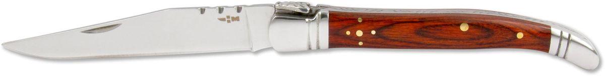 Нож складной Ножемир Чёткий расклад, общая длина 19,7 см. C-171C-171Бренд: Ножемир длина клинка, мм: 90 толщина клинка, мм: 2,4 общая длина, мм: 197 материал рукояти: стабилизированное дерево сталь: 40Х13 твёрдость стали, HRC: 55 — 56 особенность: зеркальная полировка