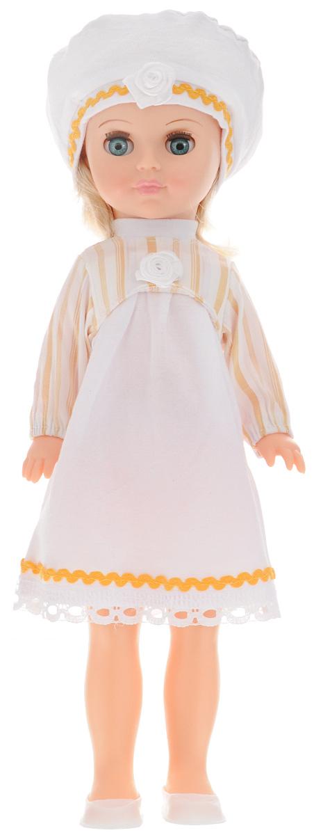 Весна Кукла Мила цвет одежды белый желтыйВ2412_желтыйБлагодаря очаровательной кукле Весна Мила у вашей дочки появится не просто игрушка, а новая красивая подружка. Кукла одета в легкое белое платье с полосатым верхом и кружевным подолом, на голове у куклы - модный беретик с декоративным цветочком и тесьмой. У Милы подвижные ручки и ножки, а ее русые волосы можно причесывать и украшать заколочками. Юная хозяйка сможет уложить любимицу спать, и куколка правдоподобно погрузится в сон, закрыв свои глазки. Кукла изготовлена из материалов, которые соответствуют требованиям безопасности, предусмотренным техническим регламентом Таможенного союза. Играя с куклой, дети смогут развить фантазию при придумывании сюжета для игры, а также разовьют моторику рук, переодевая игрушку в красивые наряды.