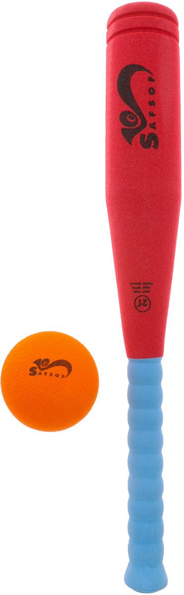 Safsof Игровой набор Бейсбольная бита и мяч цвет красный голубой оранжевыйBB-21F(C)_красный, голубой, оранжевыйИгровой набор Safsof, изготовленный из вспененной резины и полимерных материалов, включает в себя бейсбольную биту и мяч. Такой набор непременно пригодится вам, если вы собрались приобщиться к увлекательной игре бейсбол. Сегодня профессиональный бейсбол привлекает на стадионы миллионы зрителей и развлекает миллионы людей, которые слушают или смотрят трансляции по радио и телевидению. Благодаря яркой расцветке и мягкому материалу, игра в бейсбол будет не только интересной, но и безопасной. Такой набор станет отличным подарком для маленького спортсмена и будет незаменим на летнем отдыхе.