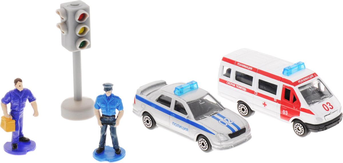 ТехноПарк Набор машинок Полиция и скорая помощь с фигуркамиSB-15-41_полиция и скорая помощь