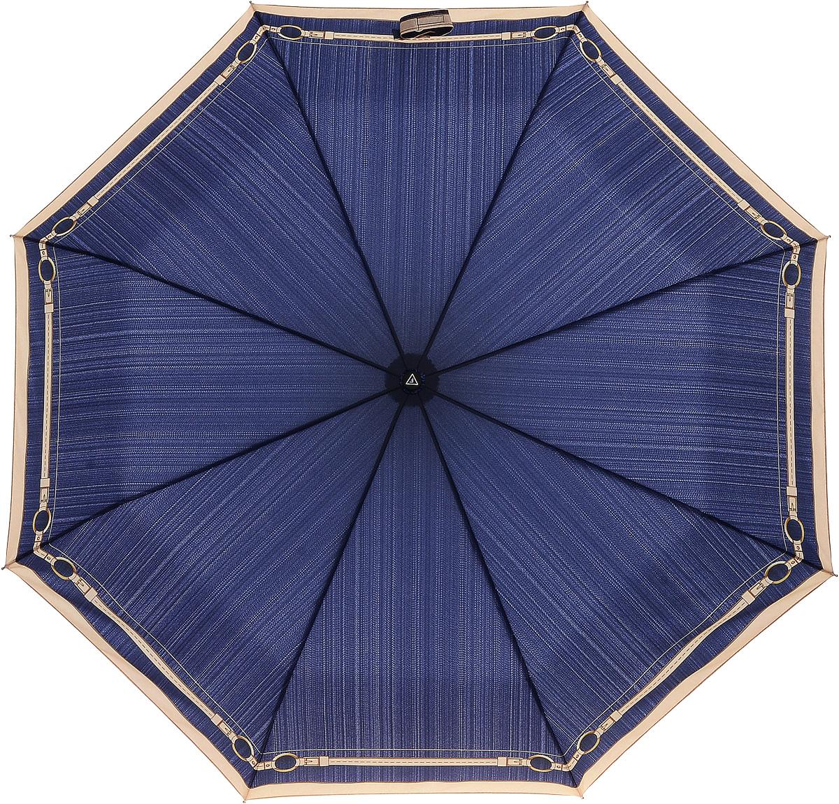 Зонт женский Fabretti, цвет: синий. L-16108-6L-16108-6Женский зонт от итальянского бренда Fabretti. Насыщенный и модный темно-синий цвет в сочетании с элегантными кремовыми оттенками сделают вас неотразимыми в любую непогоду! Стильный дизайнерский принт в виде утонченных графических линий и стилизация под джинсовую ткань добавят изюминку и нотки шика к любому образу. Значительным преимуществом данной модели является система антиветер, которая позволяет выдержать сильные порывы ветра. Материал купола - эпонж, обладает высокой прочностью и износостойкостью. Вода на куполе из такого материала скатывается каплями вниз, а не впитывается, на нем практически не видны следы изгибов. Эргономичная ручка сделана из высококачественного пластика-полиуретана с противоскользящей обработкой.