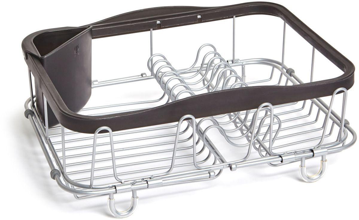 Сушилка для посуды Umbra Sinkin, цвет: черный1004292-047Обновленная модель уже известной сушилки. Добавлены раздвигающиеся ручки для удобного хранения над раковиной. Теперь сушилку можно хранить непосредственно в раковине, над раковиной (если там размораживаются продукты, например) и на кухонной стойке. С боковой стороны добавлены 4 удобных выступа для сушки стаканов или чашек. По-прежнему, в комплект входит съёмный уголок для хранения столовых приборов. Ручки раздвигаются до 48.5 см. Дизайнер Umbra Studio